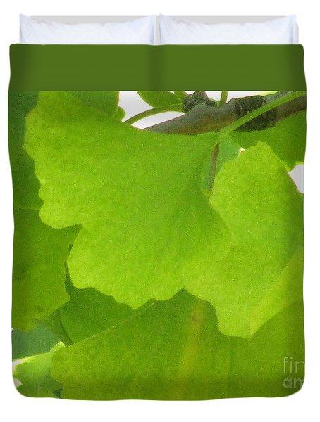 Green Ginkgo Duvet Cover by Kim Tran