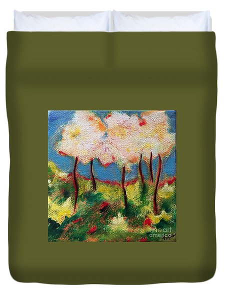 Duvet Cover featuring the painting Green Glade by Elizabeth Fontaine-Barr