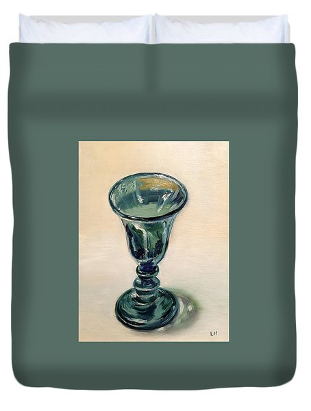 Green Glass Goblet Duvet Cover