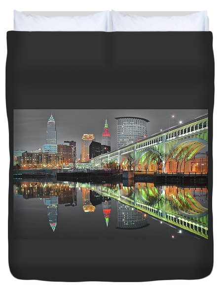 Duvet Cover featuring the photograph Green Glow by Frozen in Time Fine Art Photography