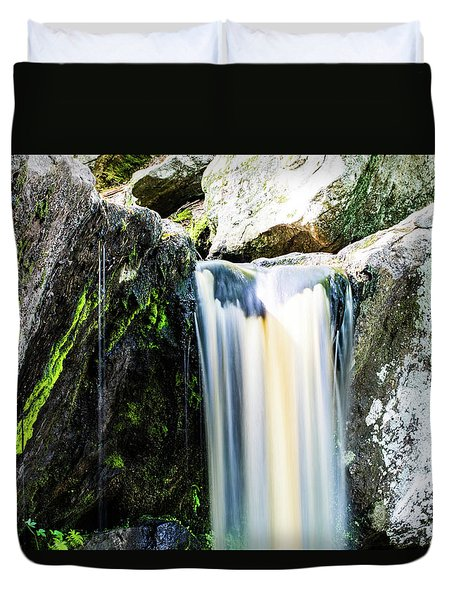 Green Glows On The Falls Duvet Cover
