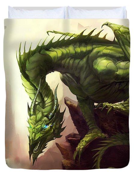 Green God Dragon Duvet Cover by Anthony Christou