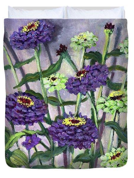 Green, Gold And Violet Duvet Cover