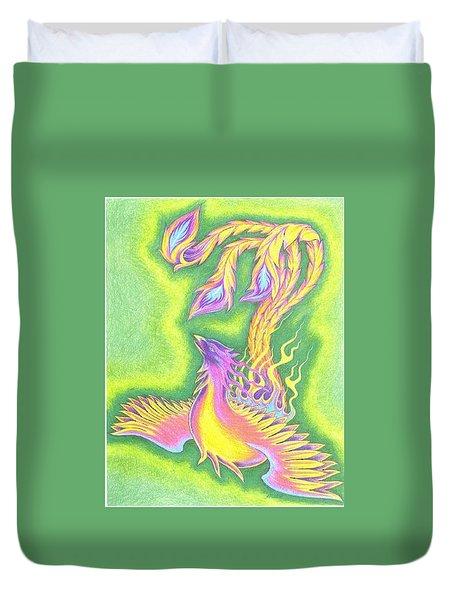 Green Gold Phoenix Duvet Cover