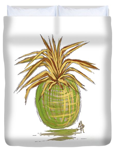Green Gold Pineapple Painting Illustration Aroon Melane 2015 Collection By Madart Duvet Cover by Megan Duncanson