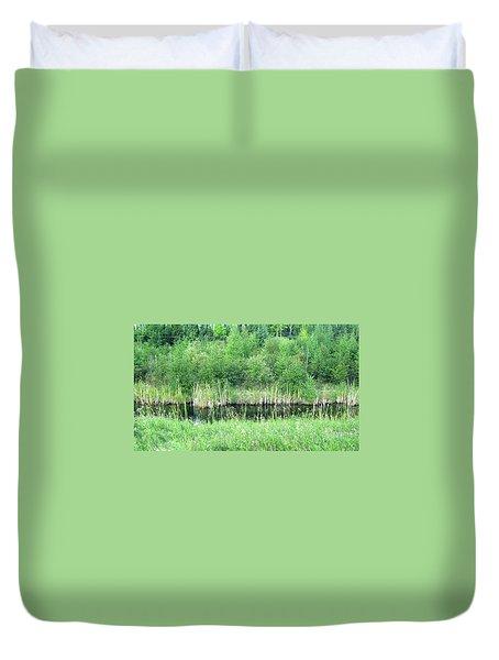 Green Grass Black Water Duvet Cover