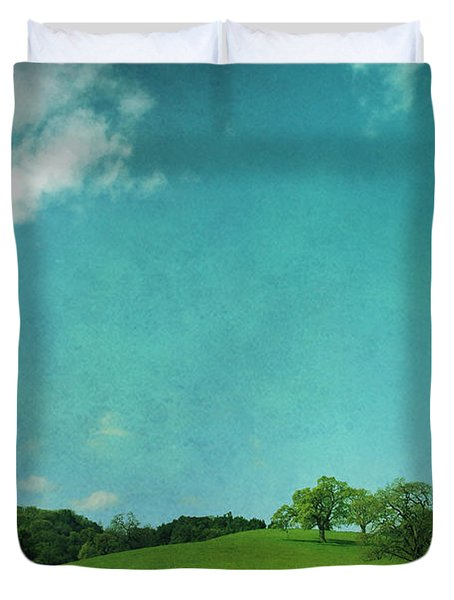 Green Grass Blue Sky Duvet Cover by Laurie Search