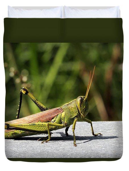 Green Grasshopper Duvet Cover