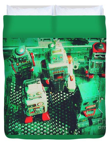 Green Grunge Comic Robots Duvet Cover
