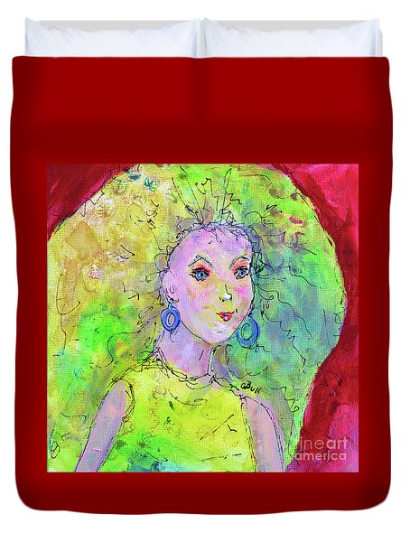 Duvet Cover featuring the painting Green Hair Don't Care by Claire Bull