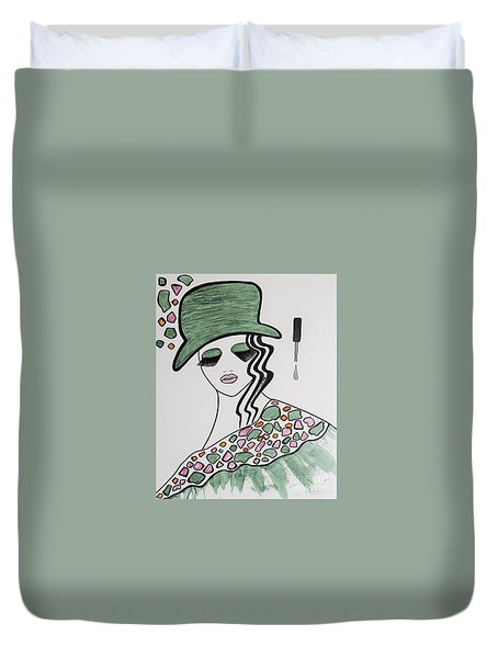 Green Hat Duvet Cover