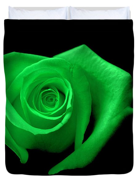 Green Heart-shaped Rose Duvet Cover by Glennis Siverson