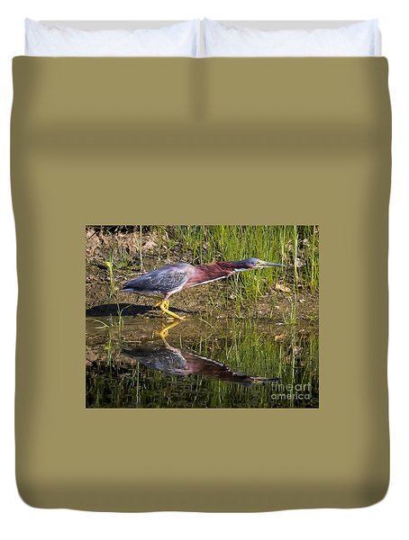 Duvet Cover featuring the photograph Green Heron  by Ricky L Jones