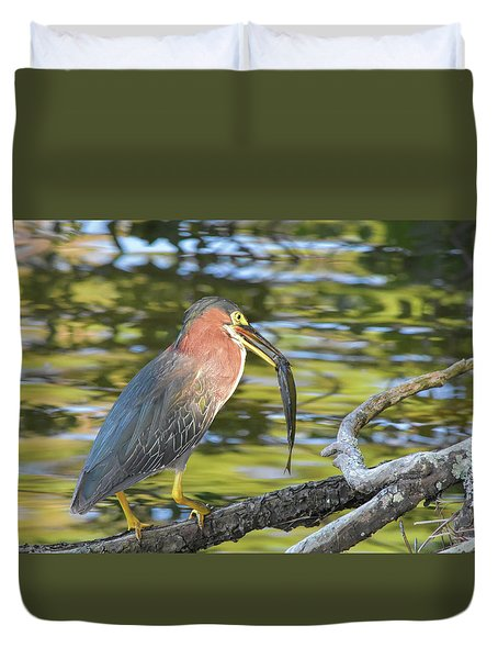 Green Heron With Fish Duvet Cover