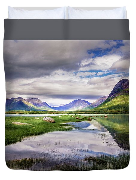 Duvet Cover featuring the photograph Green Hills Of Vesteralen by Dmytro Korol