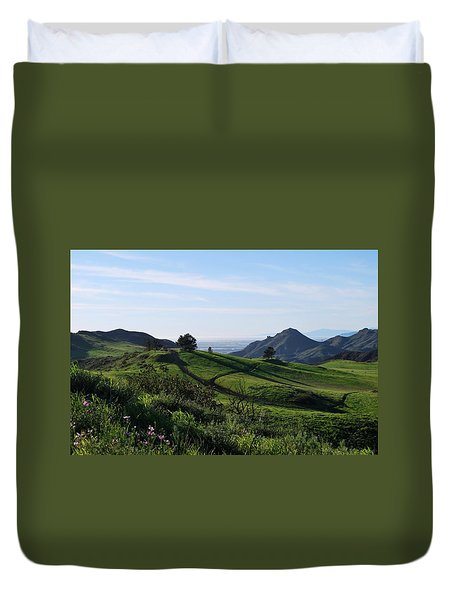 Duvet Cover featuring the photograph Green Hills Purple Flowers Foreground  by Matt Harang