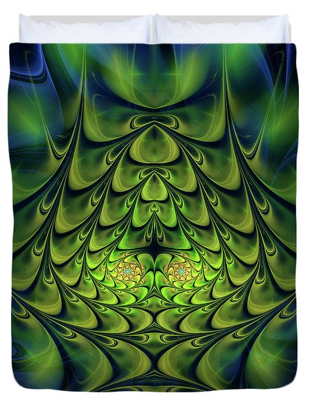 Duvet Cover featuring the digital art Green Island by Jutta Maria Pusl