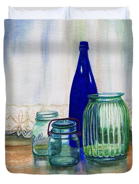 Duvet Cover featuring the painting Green Jars Still Life by Marilyn Smith