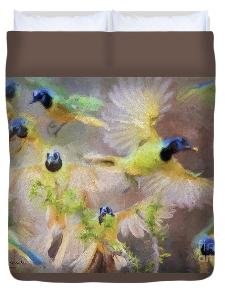 Green Jay Collage Duvet Cover