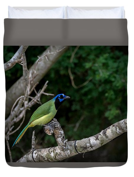 Green Jay Duvet Cover