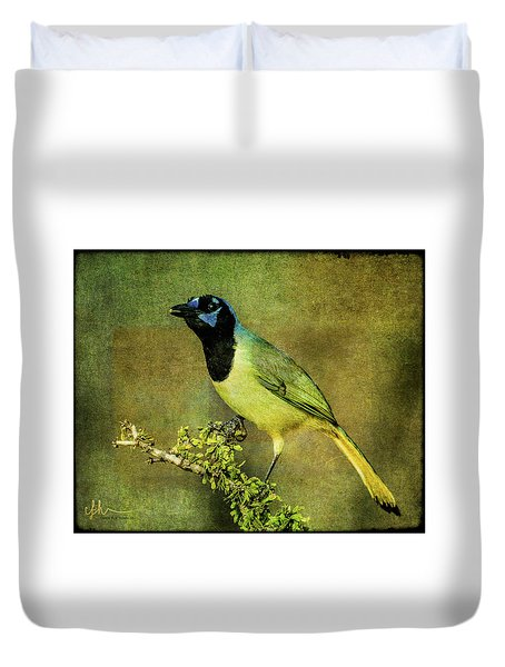 Green Jay With Textures Duvet Cover