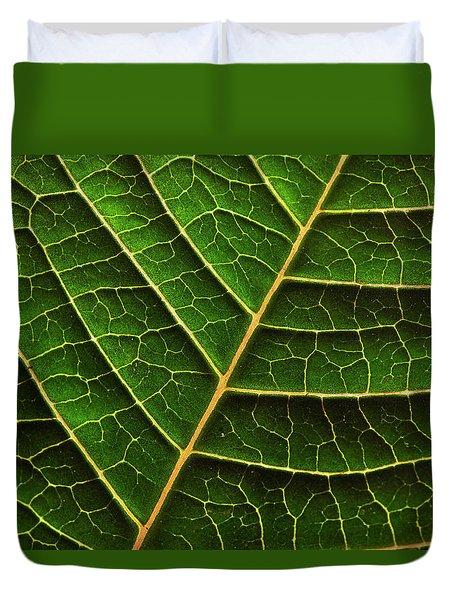 Green Leaf Macro Duvet Cover