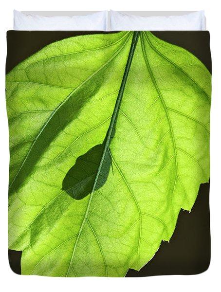 Green Hibiscus Leaf Duvet Cover