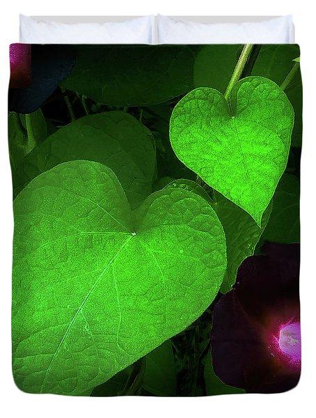 Green Leaf Violet Glow Duvet Cover