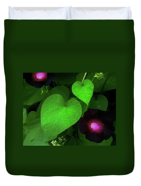 Green Leaf Violet Glow Duvet Cover