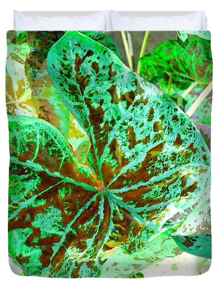 Green Leafmania 1 Duvet Cover by Marianne Dow