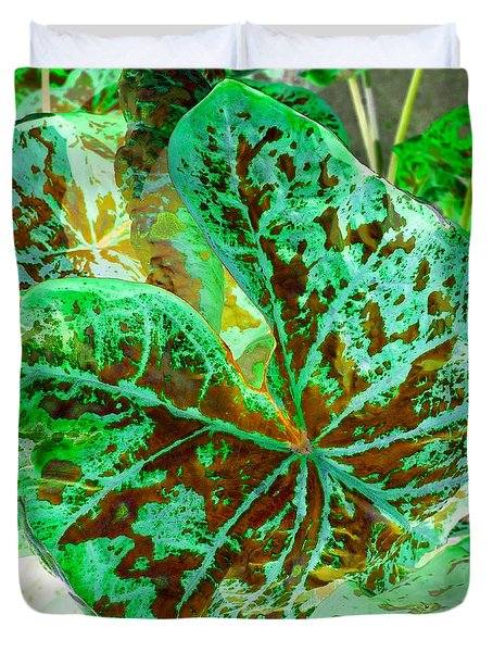Green Leafmania 2 Duvet Cover by Marianne Dow