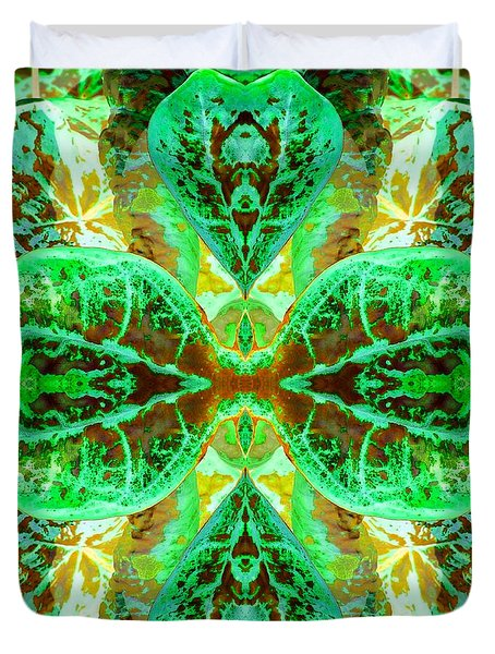 Green Leafmania 3 Duvet Cover by Marianne Dow