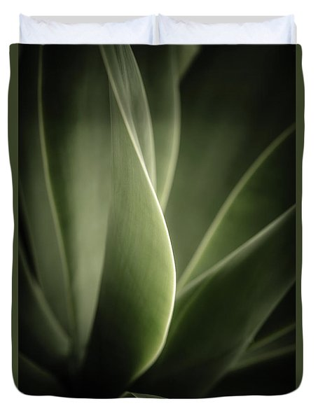 Duvet Cover featuring the photograph Green Leaves Abstract by Marco Oliveira