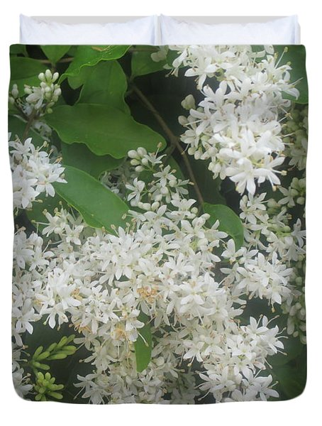 Green Leaves And White Flowers Duvet Cover
