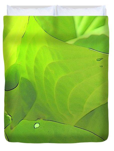 Green Leaves Sketch 2 Duvet Cover