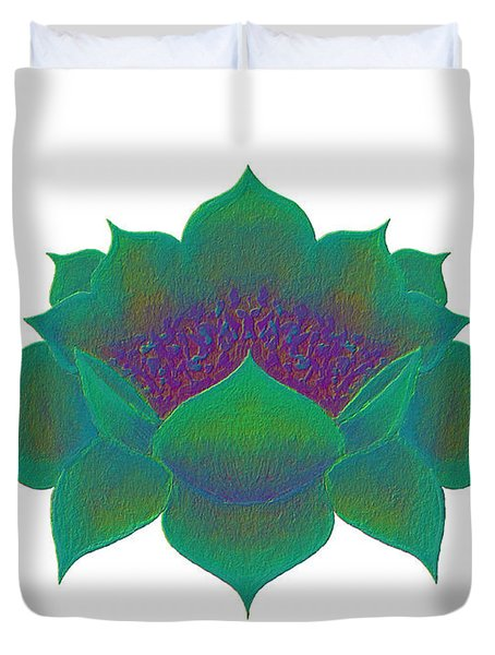 Green Lotus Duvet Cover
