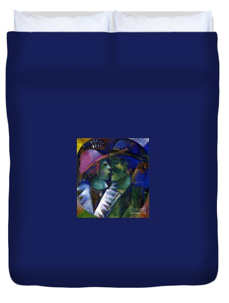 Green Lovers Duvet Cover by Marc Chagall