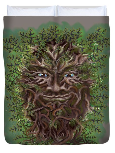 Green Man Of The Forest Duvet Cover