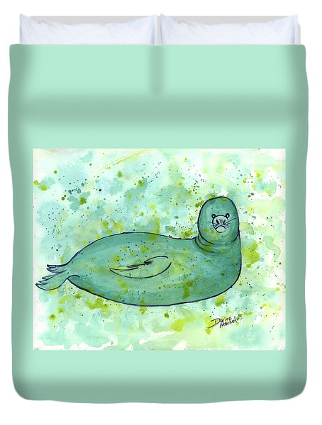 Green Monk Seal Duvet Cover by Darice Machel McGuire