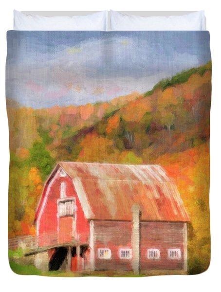 Green Mountains Barn Duvet Cover by Betty LaRue