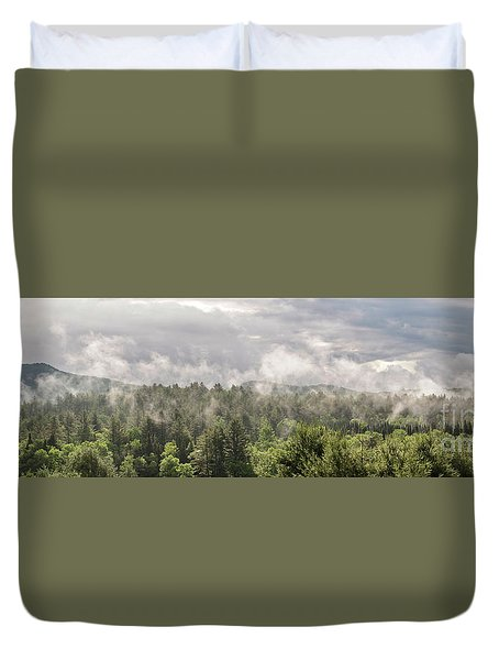 Green Mountains Fog Panoramic Duvet Cover