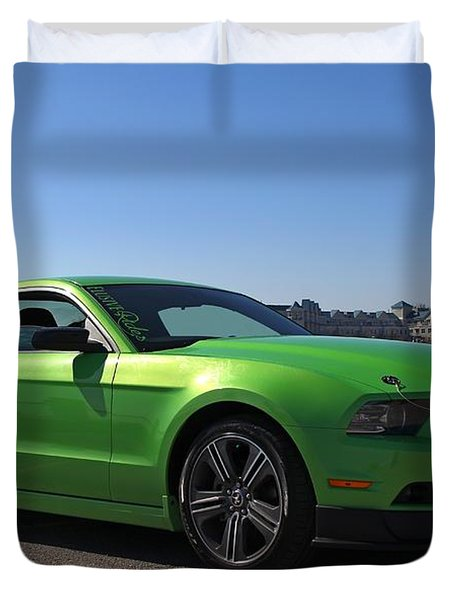 Green Mustang Duvet Cover