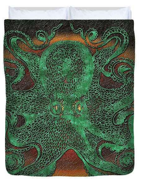 Green Octopus Duvet Cover
