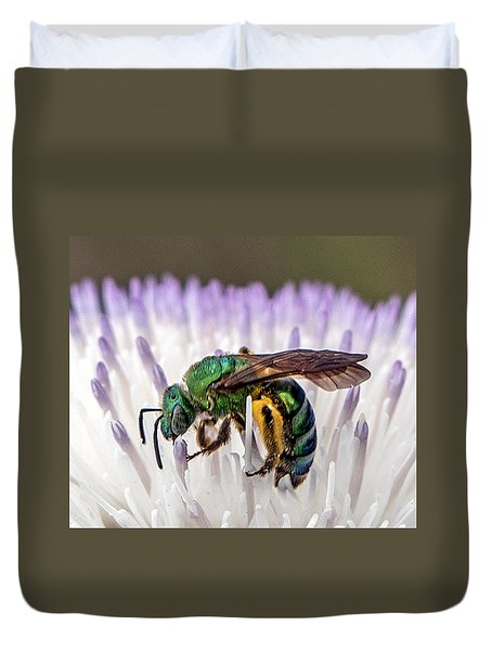 Green Orchid Bee Duvet Cover