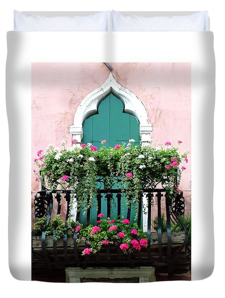 Duvet Cover featuring the photograph Green Ornate Door With Geraniums by Donna Corless
