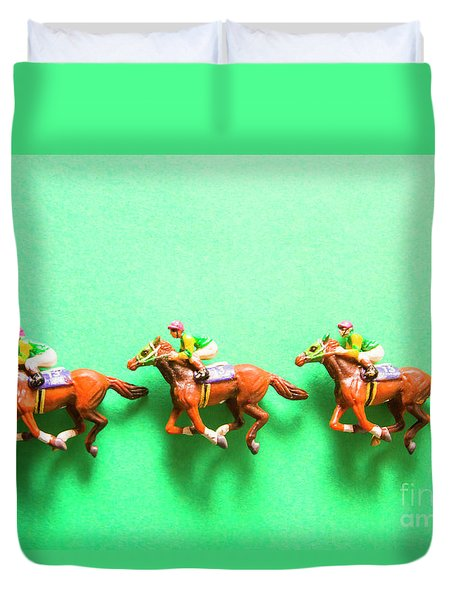 Green Paper Racecourse Duvet Cover