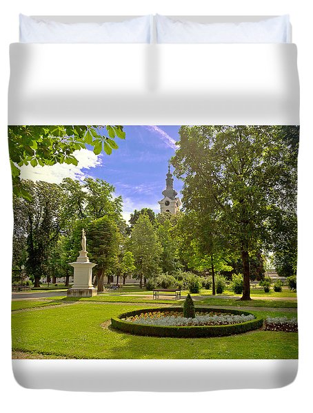 Green Park And Church In Bjelovar Duvet Cover by Brch Photography