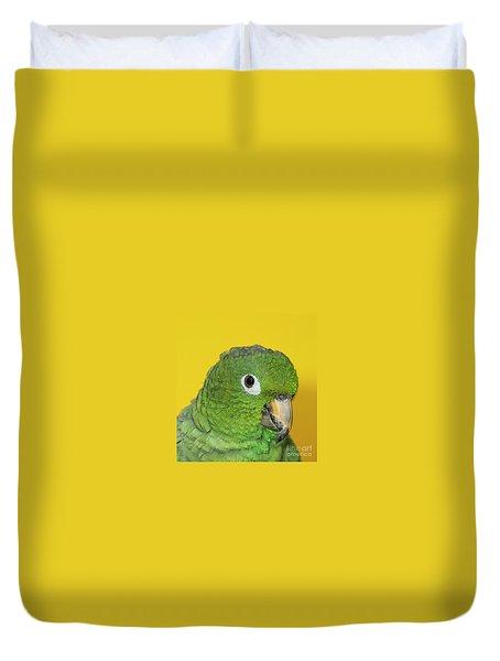 Green Parrot Head Shot Duvet Cover