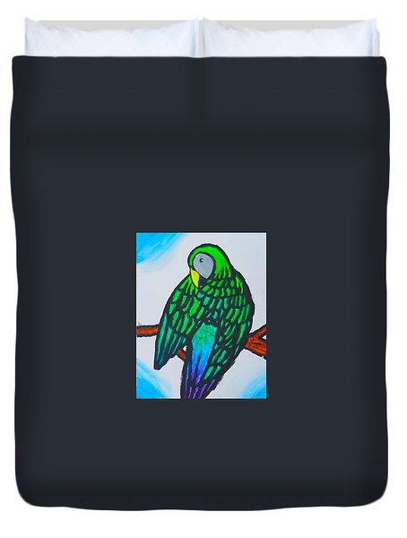 Green Parrot Duvet Cover by Artists With Autism Inc