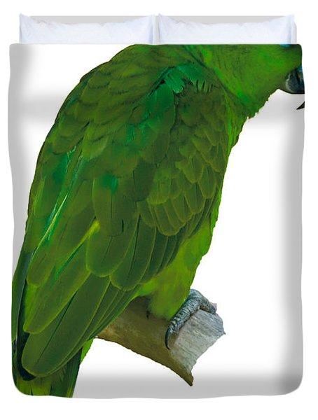 Green Parrot On White  Duvet Cover